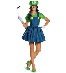 Super Mario Luigi with Skirt Adult Costume