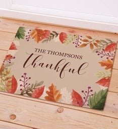 Personalized Thankful Doormat