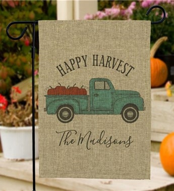 Custom Happy Harvest Truck Burlap Garden Flag