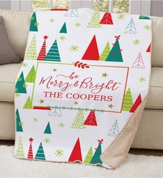 Personalized Be Merry  Bright Sherpa Blanket