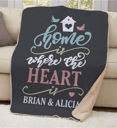 Personalized Home Is Where The Heart Is Sherpa Blanket
