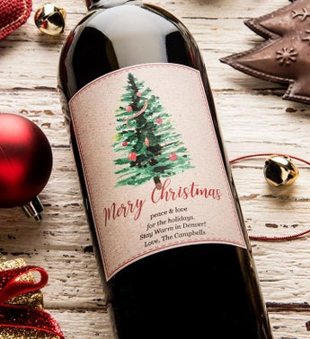 Traditional Christmas Personalized Labeled Wine