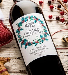 Personalized Merry Christmas Wreath Labeled Wine