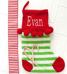 Personalized Green Stripe Pom-Pom Knit Stocking