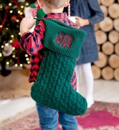 Personalized Hunter Green Cable Knit Stocking