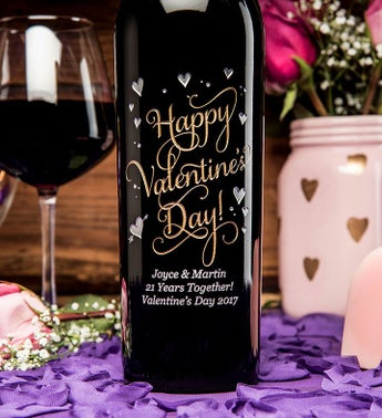 Joyful Valentine's Day Personalized Wine Bottle