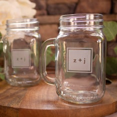 Personalized Modern Monogram Mason Jar Mugs