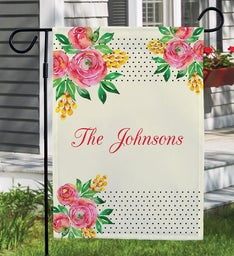 Personalized Watercolor Floral Garden Flag