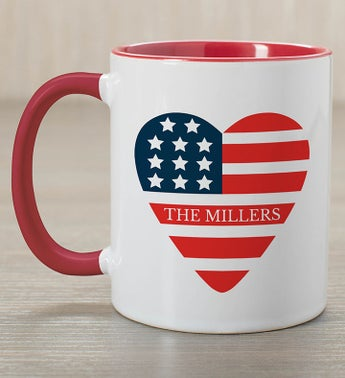 Personalized American Flag Heart Mug