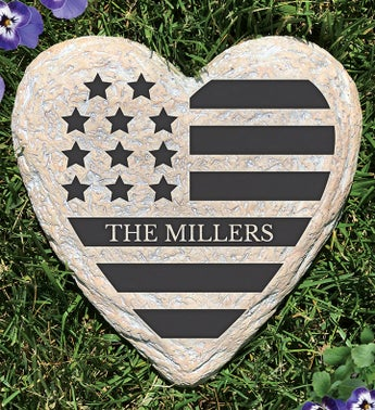 Personalized American Flag Heart Garden Stone