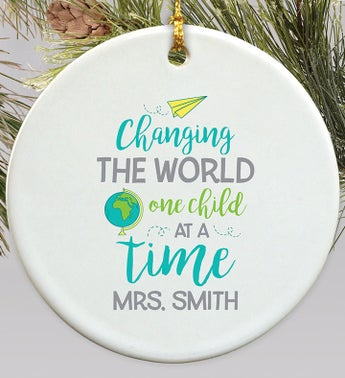 Personalized Changing The World Ornament