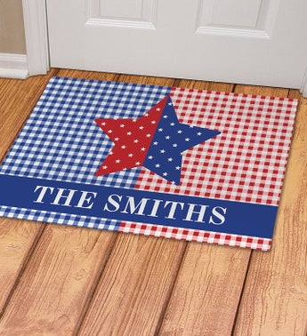 Personalized Patriotic Plaid Star Doormat