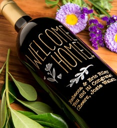 Welcome Home Flower Personalized Wine Bottle
