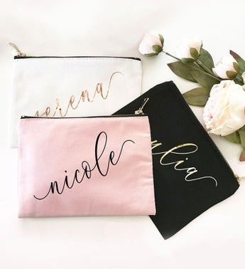 Custom Name Canvas Cosmetic Bags