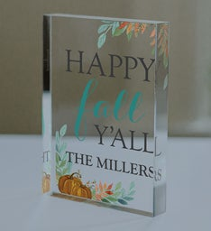Personalized Happy Fall YAll Acrylic Block