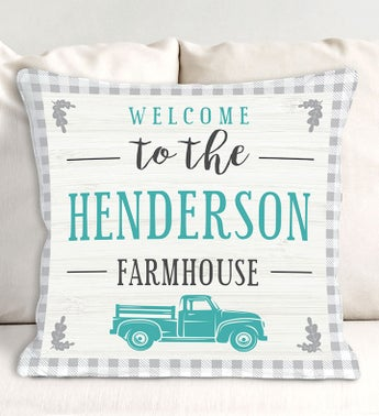 Custom Welcome To The Farmhouse Gingham Pillow