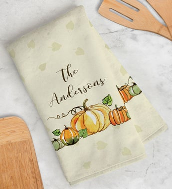 Personalized Fall Pumpkin Hand Towel