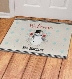 Personalized Welcome Gingham Snowman Doormat