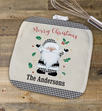 Personalized Gingham Snowman Pot Holder