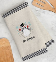 Personalized Gingham Snowman Kitchen Towel