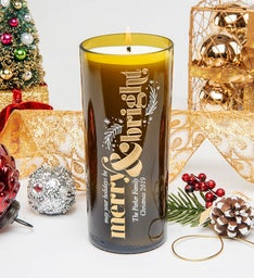 Festive Merry  Bright Personalized Candle