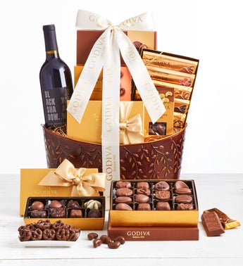 Exclusive Godiva Grand Chocolates  Wine Basket