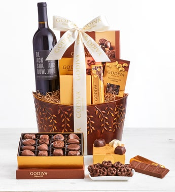 Exclusive Godiva Deluxe Chocolates  Wine Basket